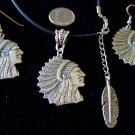 SILVER INDIAN CHIEF HEAD PENDANT NECKLACE & EARRINGS