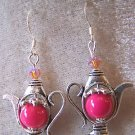 SO CUTE! PINK BEAD~SWAROVSKI CRYSTAL TEA POT EARRINGS