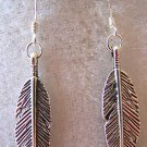 CUTE FEATHER EARRINGS IN TIBET SILVER~925 STERLING