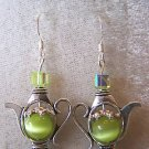 CUTE GREEN CATS EYE~SWAROVSKI CRYSTAL TEA POT EARRINGS