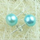 ELEGANT 7MM AQUA FRESH WATER CULTURED PEARL EARRINGS