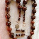 ONE OF A KIND GOLDSTONE 26 INCH NECKLACE & MATCHING EARRINGS 925 STERLING SILVER