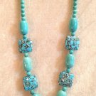"LOVELY MOSAIC TURQUOISE & TURQUOISE 26"" NECKLACE & EARRINGS W/925 STERLING WIRES"