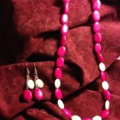 HANDMADE 24 INCH MAGENTA & WHITE JADE BEAD NECKLACE & EARRINGS FREE SHIPPING