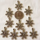 CUTE LOT OF 10 SILVERTONE SNOW FLAKE CHARMS-LEAD FREE GREAT FOR MAKING JEWELRY