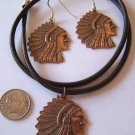 COPPER INDIAN CHIEF HEAD PENDANT NECKLACE & MATCHING EARRINGS FREE SHIPPING