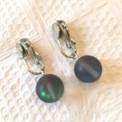 BLUE AURORA BOREALIS ROUND BEAD CLIP ON EARRINGS IN SILVER PLATE 1 INCH LONG#138