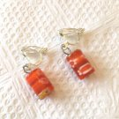 RED & YELLOW FLORAL LAMPWORK CLIP ON EARRINGS IN SILVER PLATE 1 INCH LONG #137