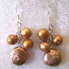 CHOCOLATE 6MM ROUND-12 MM COIN PEARL EARRINGS IN 925 STERLING SILVER-FREE SHIP