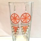 CUTE HANDMADE ORANGE BEADED DREAM CATCHER EARRINGS W/SURGICAL STEEL EAR WIRES