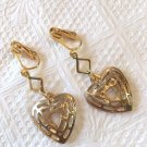 UNIQUE GOLD TONE OPEN HEART DANGLE FLORAL CLIP ON EARRINGS 1 1/2 INCHES LONG#140