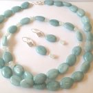 HANDMADE 34 INCH 12MM X16MM BLUE JADE BEAD NECKLACE- MATCHING EARRINGS FREE SHIP