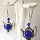 10 MM BLUE CATS EYE & CRYSTAL TEA POT EARRINGS- 925 STERLING SILVER EAR WIRES