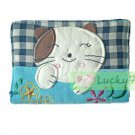Credit Name Card Holder w/ Elastic Band : Blue Lucky Cat Flower Embroider