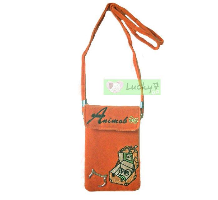 Phone iPhone Bag Case Shoulder Strap w Purse ANIMOB VELVET VELOUR / Orange