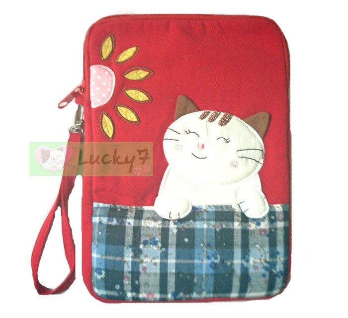 Apple iPad mini Case Pouch Cover / Kindle / Galaxy Tab2 : Red Lucky Cat