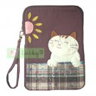 Apple iPad mini Case Pouch Cover / Kindle / Galaxy Tab2 : Purple Lucky Cat