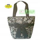 NaRaYa Thai Cotton Large Shoulder Shopper Bag Tote / Navy Blue Ribbon
