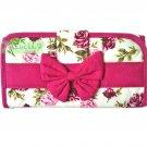 NaRaYa Thai Cotton Trifold Wallet Clutch Bag Purse Checkbook / Dark Pink Floral