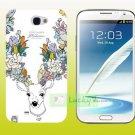 SAMSUNG Galaxy Note II 2 Hard Back Case Cover Skin Shell : DEER & FLOWERS