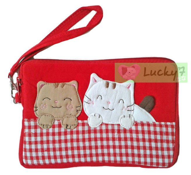 Apple iPad mini/Galaxy Note, Tab 2 3 7.0, 8.0 Case Cover // Red Lucky Cat Cotton