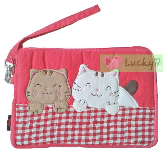 Apple iPad mini/Galaxy Note, Tab 2 3 7.0, 8.0 Case Cover // Salmon Pink Lucky Cat Cotton