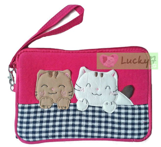 Apple iPad mini/Galaxy Note, Tab 2 3 7.0, 8.0 Case Cover // Pink Lucky Cat Cotton