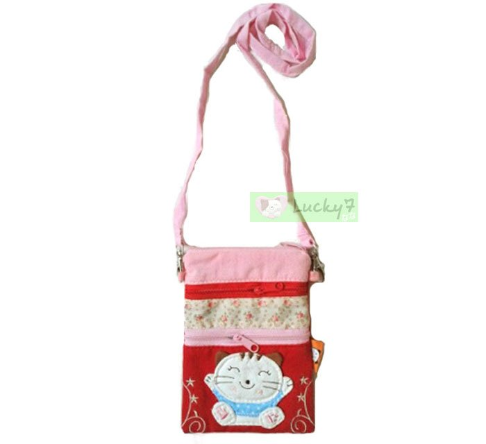 iPhone 4S 5 5S GALAXY S3 S4 Neck Strap Lanyard Bag Case /  Lucky Cat Flower / Red-Pink