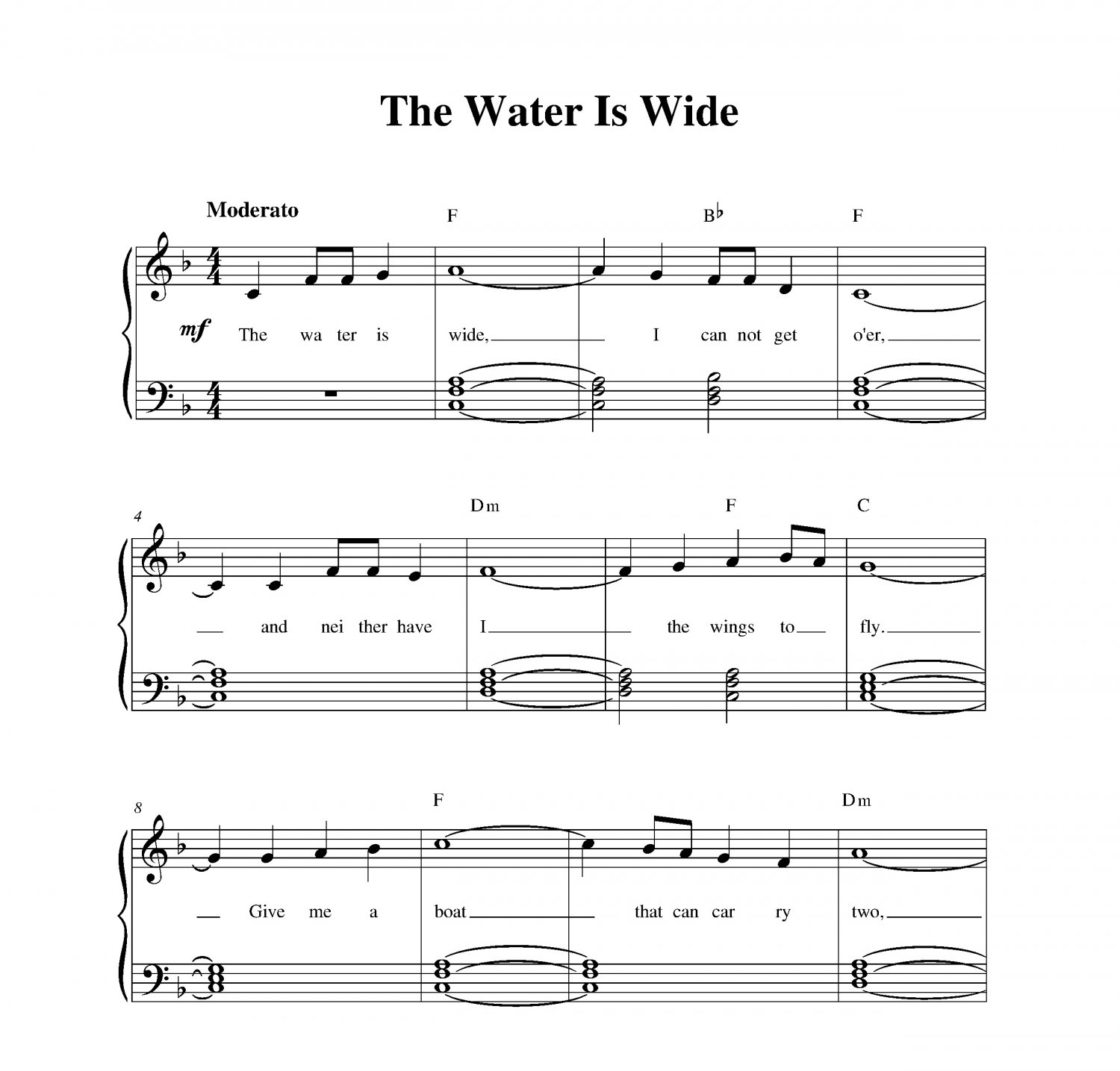 Piano Sheet Music For Shenandoah: Water Is Wide, The