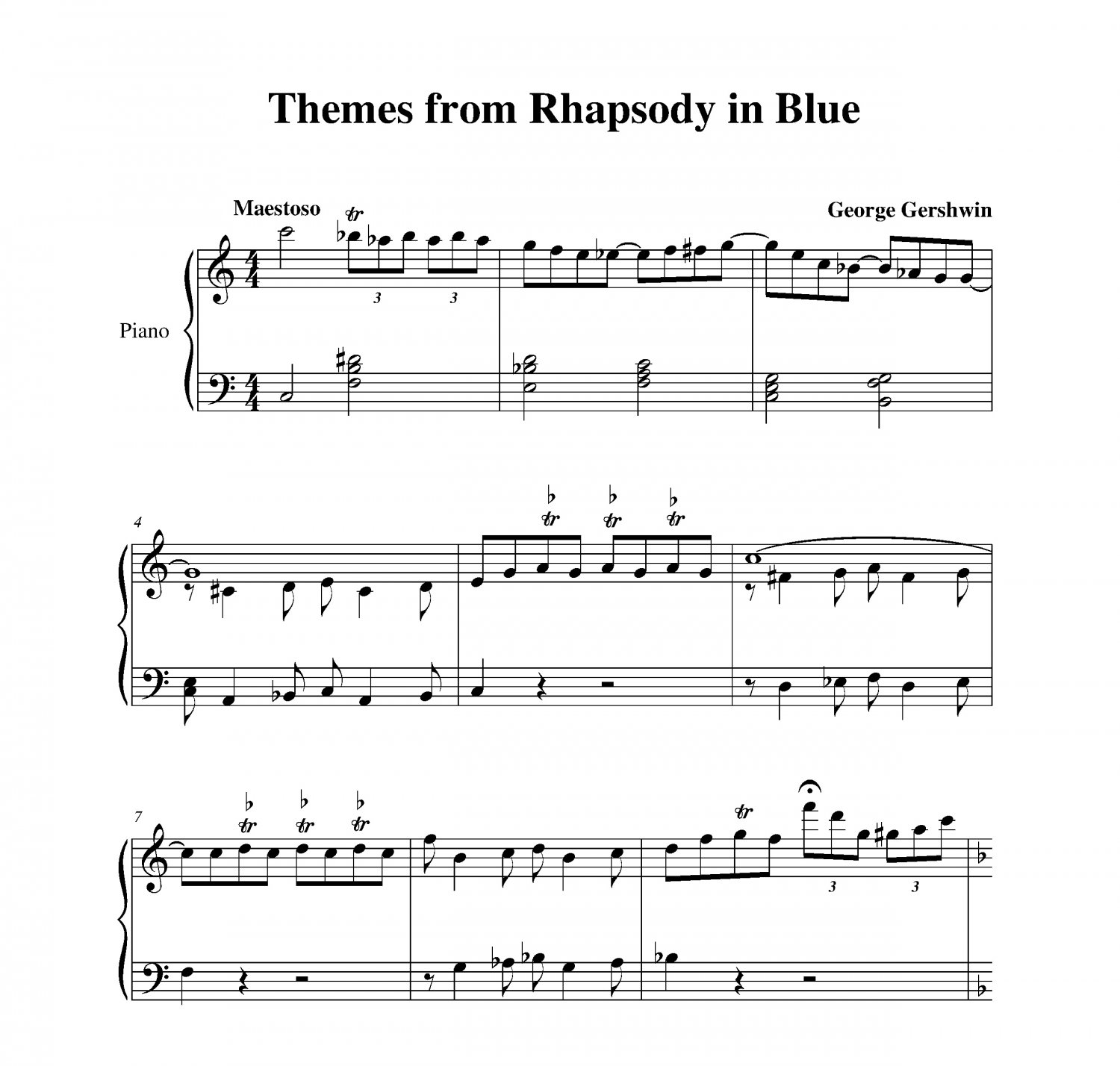 rhapsody in blue trumpet sheet music pdf