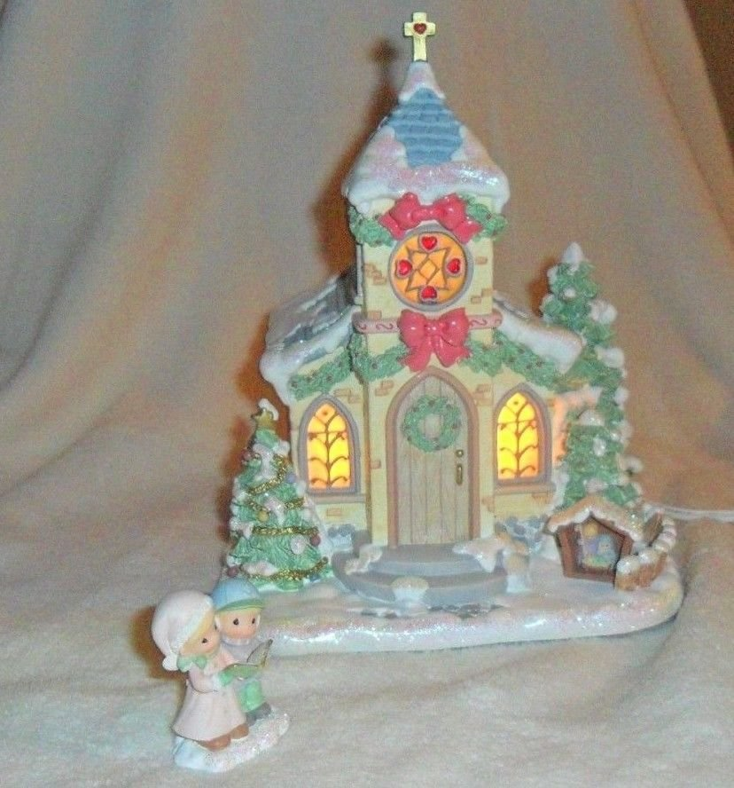"""NEW 2PC Precious Moments """"Holy Night Chapel"""" 79381 Enesco W/COA 2001"""
