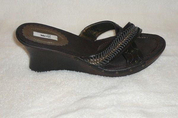 METRO 7 WOMEN'S BROWN WEDGE HEEL OPEN TOE SANDALS SIZE 9 FOOTWEAR