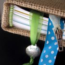 Burlap Journal with Antique Polka Dot Inside Covers, and Colorful Inserts and Bookmarks