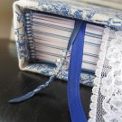 China Blue Antique Print Journal with Swarovski Crystal Charms and Lace Bookmark