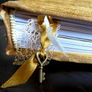 Hand Bound Gold Journal with Ribbon Bookmarks and Key Charm