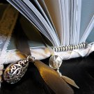 White Lace-Covered Hand Bound Journal with Grey Accents and Ribbon Bookmarks