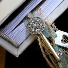 Journal with Ivory Cover, Robbins Egg Blue Inside Covers, & a Silver Key & Silver Heart Tag Charm