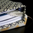 Hand Bound Navy Blue & Ivory Journal with Sewn-In Ribbon Bookmarks & Navy Accents