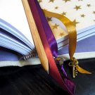 Hand Bound Journal with Ivory-Colored Canvas Cover And Purple Accents