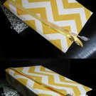 Hand Bound Journal with Yellow & Ivory Chevron Cover, Ribbon Bookmarks, & Gold Key Charm