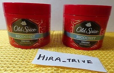 Lot 2X Old Spice Ricochet Fiber Wax Flexible Hair Hold 2.64 OZ Each Brand New