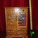 Vintage Jewelry Wood Storage Box Armoire Red Interior Magentic Closure