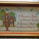 "Finished Completed Framed Cross Stitch Art Work ""Home"" Hand Made Art Deco"