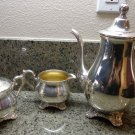 VTG Victorian Rose WM Rogers & Son Service Set Tea Pot Coffee Pot Creamer Sugar