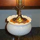 Vintage/Antique/Mid-century Stiffel Style Milk Glass Lamp Brass Wooden Base