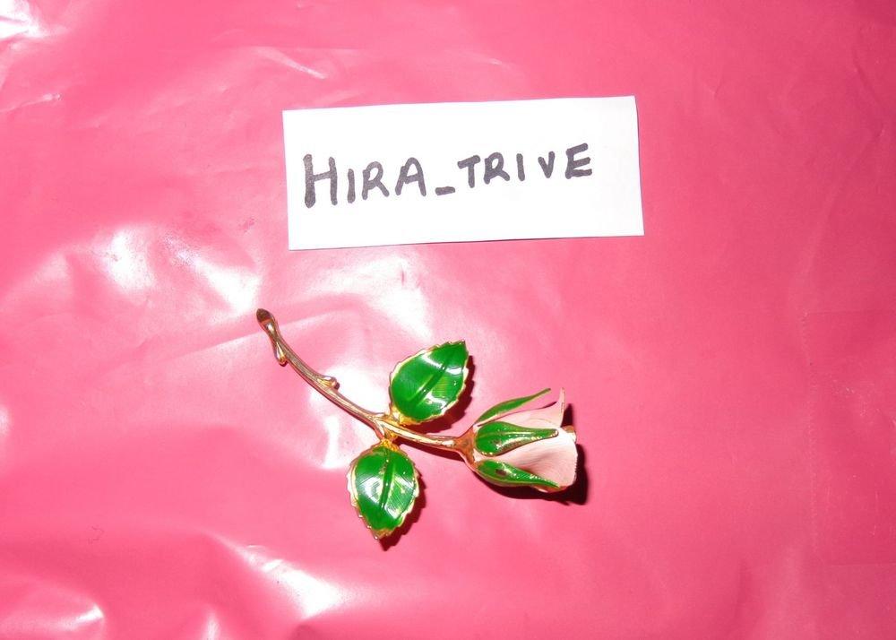 "Antique/Vintage Fashion Rose Brooch Pink/Green Gold Plated Signed ""Lisa"""