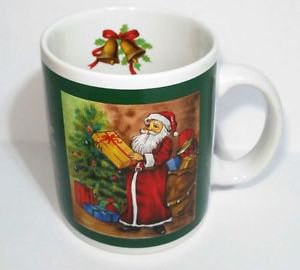 Merry Christmas Tea cup with Santa Pictures Bell leaves bear pipe gift