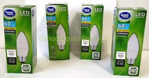 GV 4 Led 60W repalcement Uses 7W Dimmable Soft white 500 lumin Medium Base