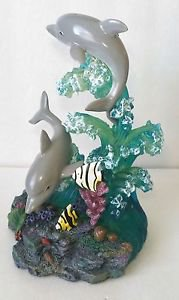 DOLPHIN SCULPTURE Home Decorative Figurine Accent Marine Animal Statues 8x5 inch