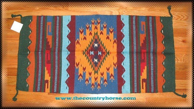SouthWestern Log Home Decor Wool Rug Blue-Yellow-Burgundy